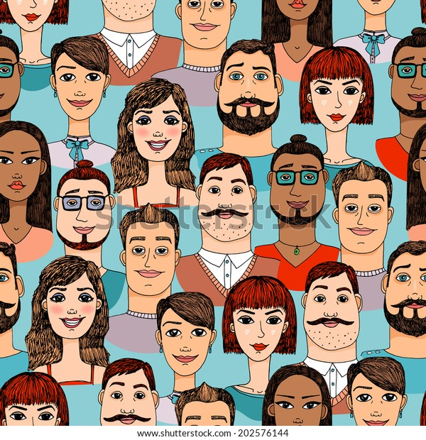 Colorful Female and Male cartoon faces crowd doodle seamless background