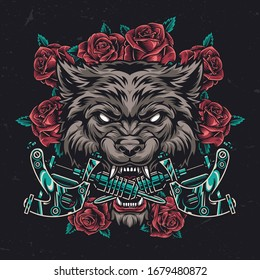 Colorful ferocious wolf head vintage concept with roses and crossed tattoo machines isolated vector illustration