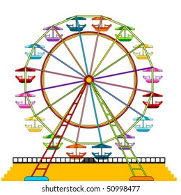 Colorful ferris wheel isolated over white background