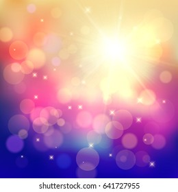 Colorful festive background with lots of light particles, bubbles, rays