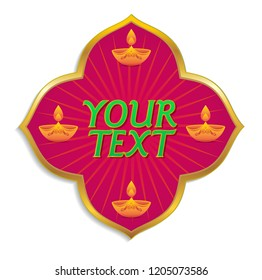 Colorful festive logo unit for Diwali festival. Ornamental decorative unit with traditional Diwali lamp graphics with space for headline.