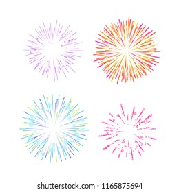 Colorful festive traditional lights, indian fireworks, crackers, pyrotechnics and flying rockets in the sky. Indian fireworks on sacred festival of Diwali, merry holiday feast. Vector illustration.