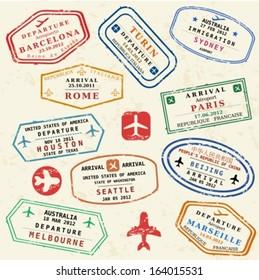 Colorful fictitious visa stamps set. International business travel concept. Frequent flyer visas.