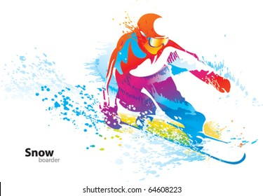 The colorful figure of a young man snowboarding with drops and sprays on a white background. Vector illustration.