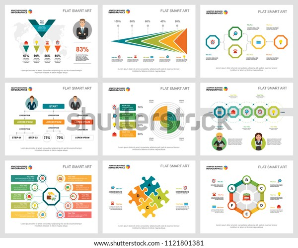Colorful finance or banking concept infographic charts set. Business design elements for presentation slide templates. Can be used for annual report, advertising, flyer layout and banner design.