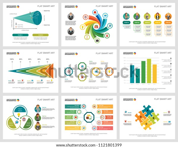 Colorful finance or teamwork concept infographic charts set. Business design elements for presentation slide templates. For corporate report, advertising, leaflet layout and poster design.