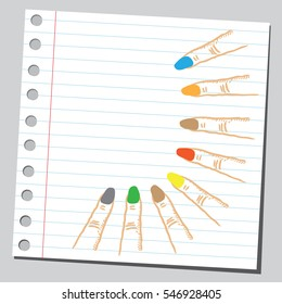 Colorful finger nails