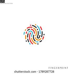 Colorful fingerprint. Isolated icon on white background. Creative design