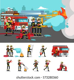 Colorful firefighting composition with rescue brigade extinguishing fire saving child and firefighters in different situations vector illustration