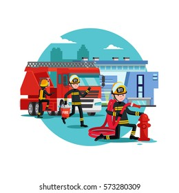 Colorful firefighting template with fireman rescue brigade fire truck and equipment vector illustration