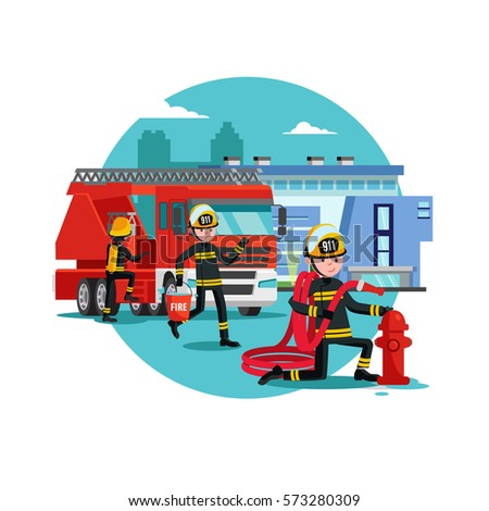 colorful firefighting template fireman rescue brigade stock vector