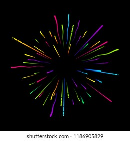 Colorful firework on black background. Festive decoration. Vector card.