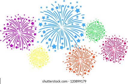 Feu D Artifice Dessin Stock Vectors Images Vector Art