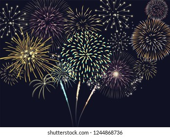 Colorful firework set bursting on sky in vector illustration. concept for template for celebration in new year and Christmas festive. It also can use for fourth of July and carnival firework event