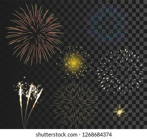 colorful firework set bursting in vector illustration. concept for template for celebration in new year and Christmas festive. It also can use for fourth of July and carnival firework event.