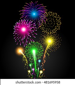 Colorful firework set for Christmas and Happy New Year or celebration