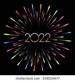 Colorful fireworks 2022 New Year vector illustration, bright on Black background. Illustrator