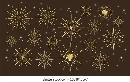 Colorful fireworks. Celebration fire firework, christmas or mardi gras or brazil carbival pyrotechnics for party festival celebration or anniversary firecracker background isolated vector set