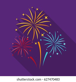 Colorful fireworks icon in flat style isolated on white background. Event service symbol stock vector illustration.