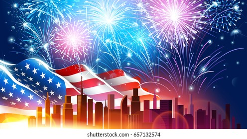 Colorful fireworks for Independence Day of America. Vector illustration