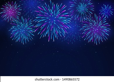 Colorful fireworks on a dark background. Bright fireworks in the night starry sky. Background for festive design, party. Vector illustration
