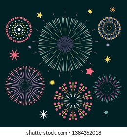 Colorful fireworks on the night sky. Feast of fire. Event service symbol Celebration fire firework. Bright anniversary firecracker flashing on dark blue backdrop. Vector
