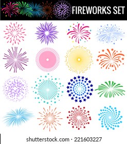 Colorful Fireworks on white background