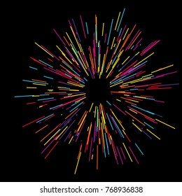 Colorful fireworks Radiating from the center of thin beams, lines. Vector illustration. Dynamic style. Abstract explosion, speed motion lines from the middle, radiating sharp