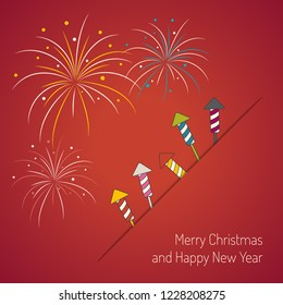 Colorful fireworks and rockets. Merry Christmas and Happy New Year card.