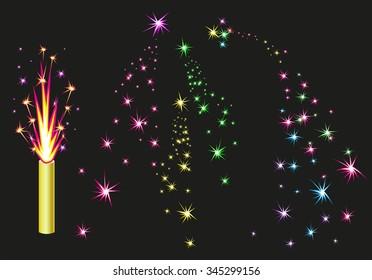 Colorful fireworks sparks on black background. Illustration