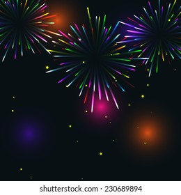Colorful fireworks - vector