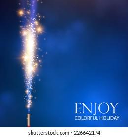Colorful fireworks. Vector illustration
