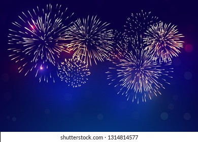 colorful fireworks vector, sparkling in dark blue sky, fireworks for festive events, new year, Christmas, 4th July