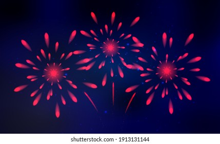 Colorful fireworks vector, sparkling in dark blue sky, fireworks for festive events, new year, Christmas.