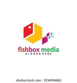 colorful fish box media logo vector
