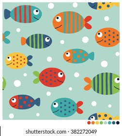 Colorful fish cartoon seamless vector pattern
