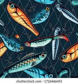 Colorful fishing lures seamless pattern in vintage style vector illustration