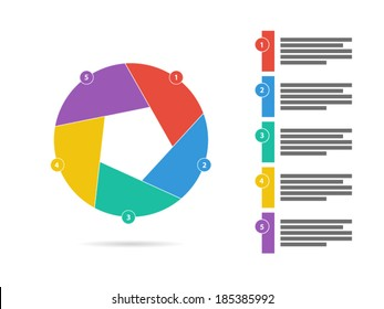 Colorful five sided puzzle presentation infographic diagram chart vector graphic template with explanatory text field isolated on white background