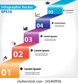 Colorful five steps design for workflow layout, diagram, number options, web design, infographics.