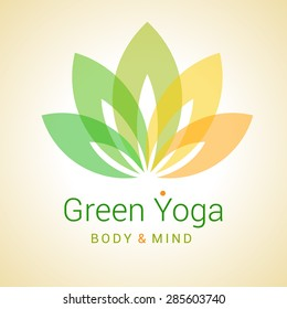 Colorful five-petals Lotus flower as symbol of yoga. Sample text - Green yoga, body and mind. Vector illustration for yoga event, school, club, web.