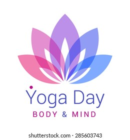 Colorful five-petals Lotus flower as symbol of yoga. Sample text - Yoga day, body and mind. Vector illustration for yoga event, school, club, web.