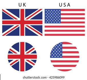 Colorful flag badges icons vector,UK,USA