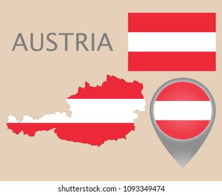 Colorful flag, map pointer and map of Austria in the colors of the Austrian flag. High detail. Vector illustration