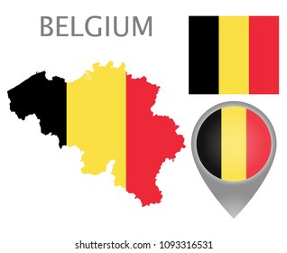 Colorful flag, map pointer and map of Belgium in the colors of the Belgian flag. High detail. Vector illustration