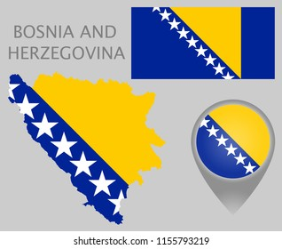 Colorful flag, map pointer and map of Bosnia and Herzegovina in the colors of the Bosnia and Herzegovina flag. High detail. Vector illustration
