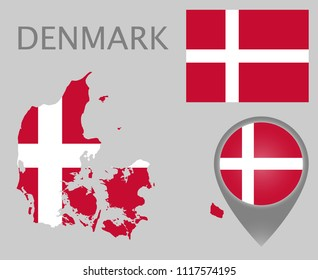 Colorful flag, map pointer and map of Denmark in the colors of the danish flag. High detail. Vector illustration