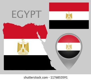 Colorful flag, map pointer and map of Egypt in the colors of the Egyptian flag. High detail. Vector illustration
