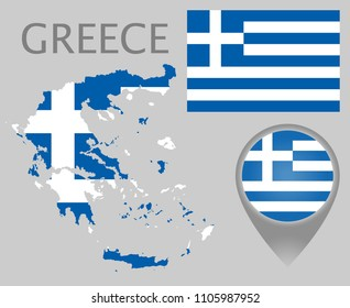 Colorful flag, map pointer and map of Greece in the colors of the Greek flag. High detail. Vector illustration