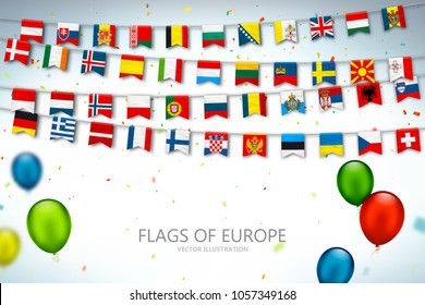 Colorful flags of different countries of the europe and world with confetti and balloons. Festive garlands of the international pennant. Bunting flags. Vector banner for celebration party, conference