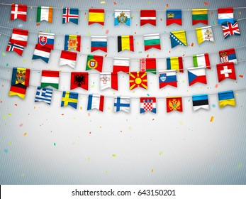 Colorful flags of different countries of the europe with confetti on grey background. Festive garlands of the international pennant. Bunting wreaths. Vector banner for celebration party, conference
